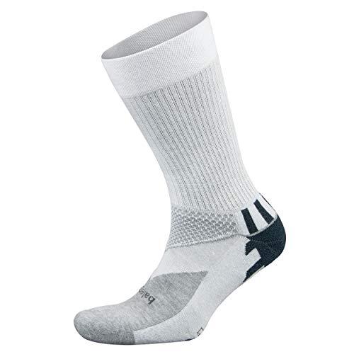 Balega Enduro V-Tech Crew Socks For Men and Women (1 Pair), White/Grey Heather, Medium