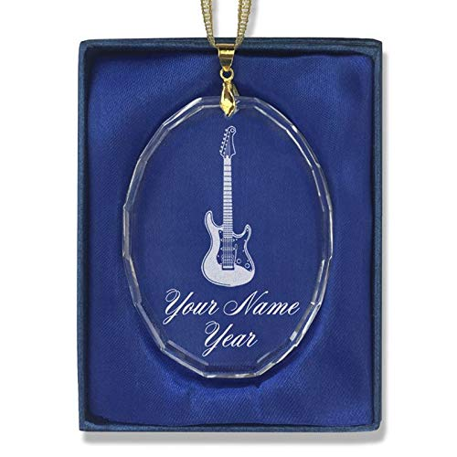LaserGram Christmas Ornament, Electric Guitar, Personalized Engraving Included (Oval Shape) (Personalized Christmas Ornament Oval)