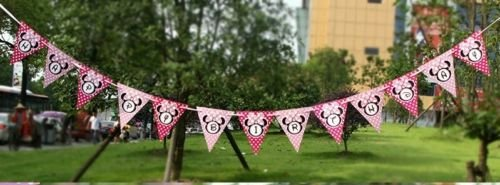 Minnie Mouse Inspired Birthday Decoration Bunting Banner | Pink Minnie Mouse Birthday Party Decoration | Pink Polka dot Wall Decoration
