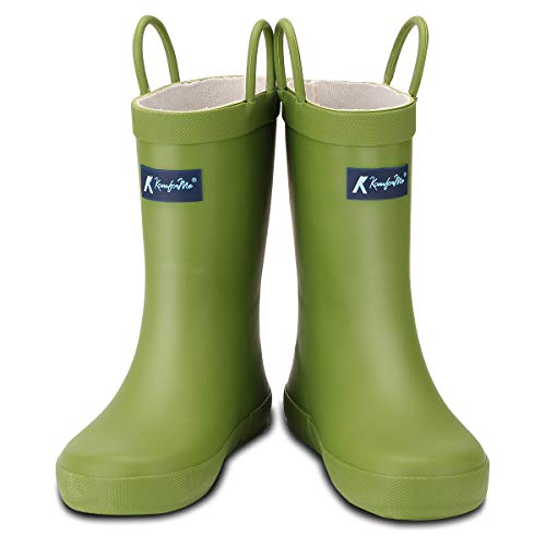 KomForme Kids Rain Boots, Waterproof Rubber Matte Boots with Reflective Stripes and Easy-on Handles Green ()