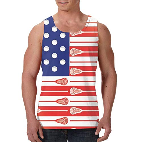 Paisley Rooster - Summer Men Boys Vest Shirts Crewneck USA Lacrosse Sticks Flag Sleeveless Vests for Workout Sport Holiday, Novelty Casual Slim Fit Daily Wear Jersey Tank Tops