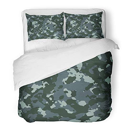 - Emvency Bedding Duvet Cover Set Queen (1 Duvet Cover + 2 Pillowcase) Camo Dark Navy Blue Camouflage Pattern Abstract Army Camoflage Color Combat Force Hotel Quality Wrinkle and Stain Resistant