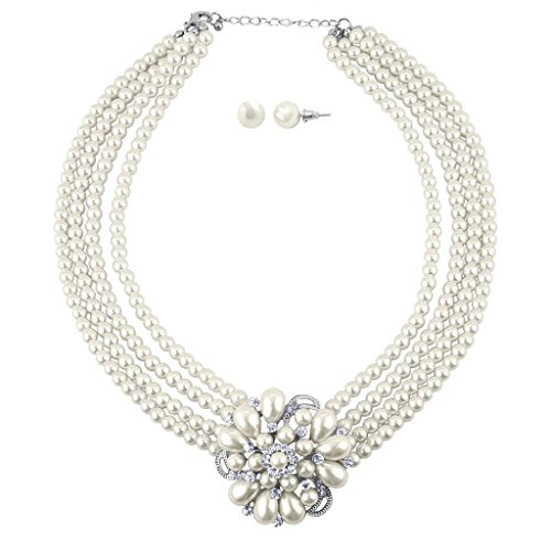 Lux Accessories Faux Pearl Floral Flower Multi Row Pave Statement Necklace Matching Post Stud Earrings