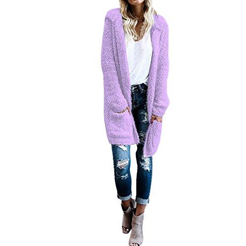 Brezeh Women Cardigan Coat Winter Warm Knit Long Sleeve Hoodie Hooded Sweaters Outerwear With Pocket Sexy Light Purple