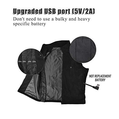 De Gilet Pas Taille Vinmori Chargement Électrique Contient Lavable Ajustable Batterie ne Usb Chauffant PxCwq1HxR