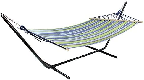 Northlight 32816522 Lime Green and Royal Blue 55 x 78 Stripe Poly Cotton Hammock with Wooden Bars and Tassels