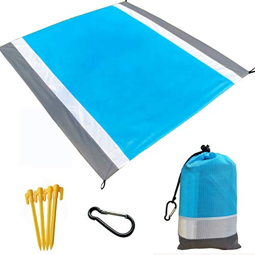 Beach Blanket, Beach Mat Outdoor Picnic Blanket Large Sand Free Compact for 7 Persons Water Proof And Quick Drying Beach Mat Mady by Premium Nylon Pocket Picnic Sheet For Outdoor Travel ( 78