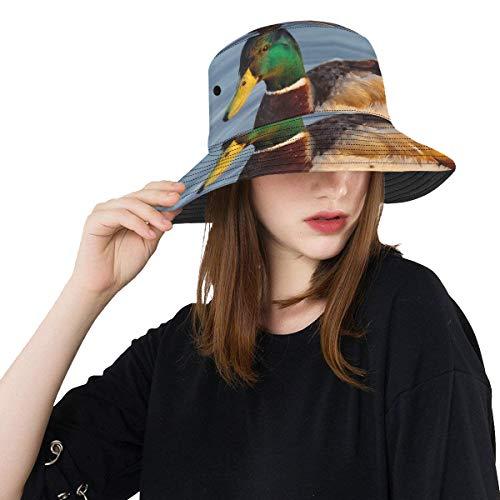 Hats Fishing Mallard Or Wild Duck On Branch Summer Unisex Fishing Sun Top Bucket Hats for Teens Women Fisherman Cap Outdoor Sport Travel Beach Hat