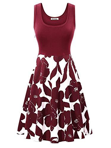 (VETIOR Sleeveless Spring Dresses, Vintage Scoop Neck Dress Casual Floral Dresses for Women )