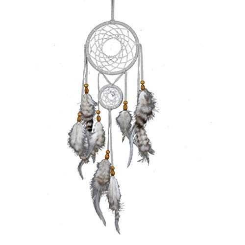 MXJJSPD Dream Catcher,Handmade Gray Two Rings Dream Catcher Feathers Wind Chime Wall Hanging Bohemian Vintage Craft for Car Pendant Bedroom Home Decoration