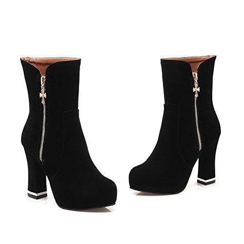 Boots Top Black Zipper High Mid Heels Allhqfashion Solid Women's q0gZFF
