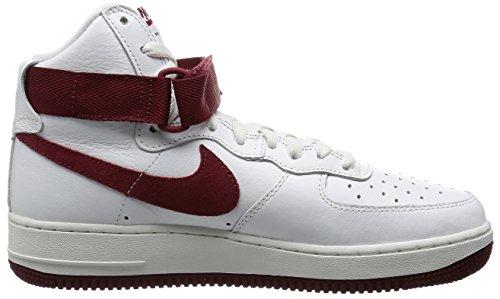 Nike Air Force 1 HI Retro QS, Zapatillas de Balonmano para Hombre Blanco / Rojo (Summit White/Team Red)