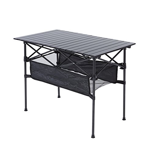 RORAIMA Easy Setup Portable Compact Aluminum Camping Folding Table 120Lbs Capacity Great Outdoor Camping, BBQ Playing Cards
