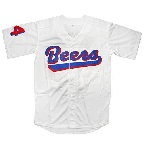 Baseketball 1998 Joe Cooper 44 Milwaukee Beers Baseball Jersey (White, - Joe Baseball Jersey