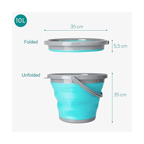 41523UCi89L Navaris Falteimer Silikon Eimer faltbar - 5l Putzeimer Silikoneimer für Reinigung Camping Angeln Küche - 5 Liter…