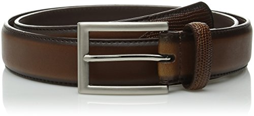 Stacy Adams Men's 31mm Smooth Genuine Leather with Lizard Embossed Tail and Matching Single Keeper, Cognac, 34 (Stacy Adams Embossed Belt)
