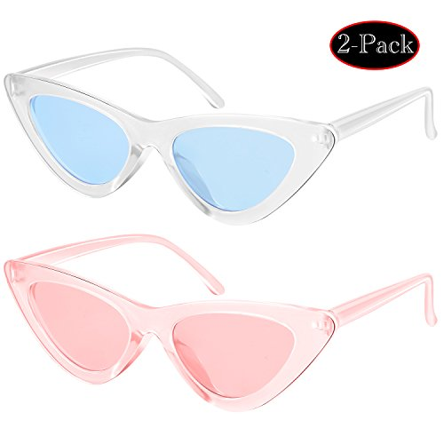 11ef2fcae3 Elimoons Retro Vintage Narrow Cat Eye Sunglasses for Women Clout Goggles  Plastic Frame 2 Pack