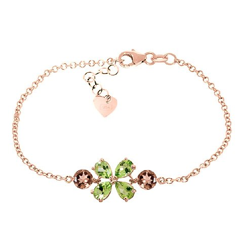 QP bijoutier Citrine, péridot & Bracelet en or Rose 9 carats, coupe - 5058R 3.15ct poire