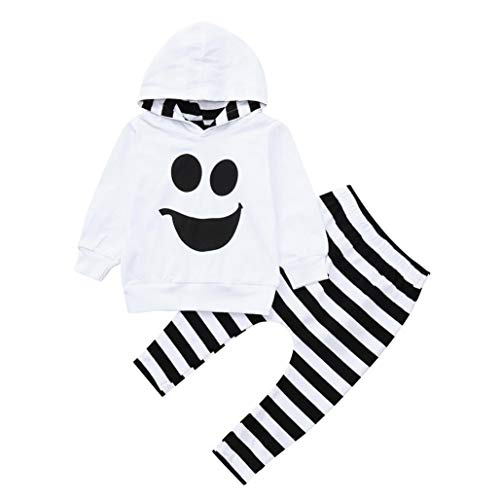 Toddler Baby Boys Girls Halloween Outfits Set, Cute Hooded Warm Sweatshirt Ghost Smile Face Tops Striped Pants (White, 4T(3-4 -