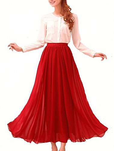 Retro Long Maxi Skirt Vintage Dress (X-Large, Red) (Reds And Vintage Skirt)