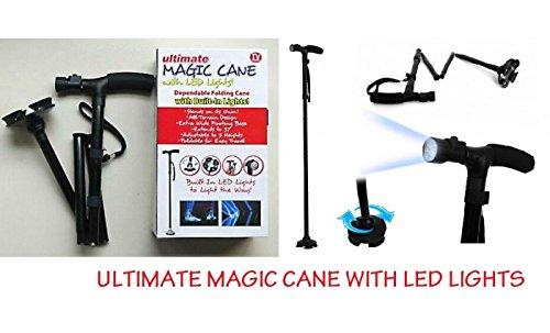 Magic Cane Gehstock, zusammenklappbar, mit LED-Licht, höhenverstellbar