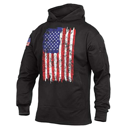 Rothco U.S. Flag Concealed Carry Hoodie, Tactical Hooded Sweatshirt, Black, 3XL