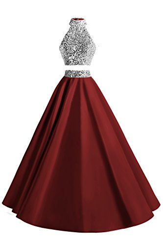 MsJune Women Two Piece Prom Dress Beaded Long Party Gowns Evening Dresses Burgundy 12