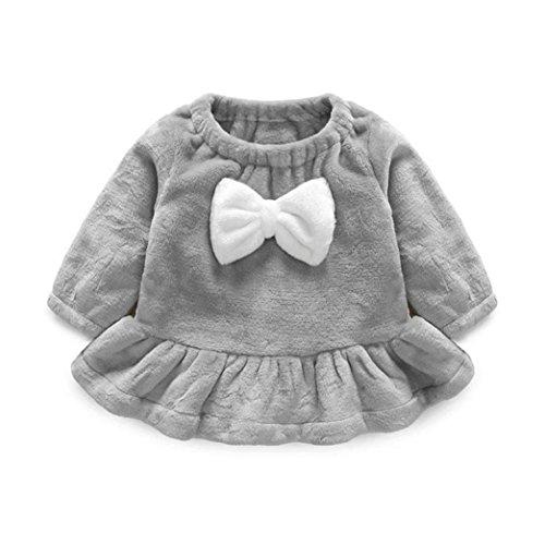 Longra Kleinkind Baby Mädchen Kinder Herbst Kleidung Bowknot Plüsch Langarmshirts T-Shirt Kleid Prinzessin Kleid Gray