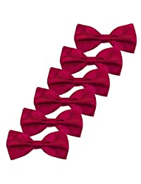6PCS Boys Children Formal Bow Ties - Adjustable Solid Color Pre Tied Bowties (Wine Red)