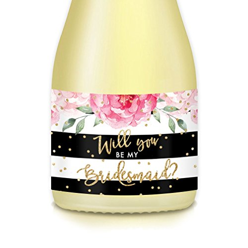Wedding Party Bride Proposal Set of 10 Floral Mini Champagne Bottle Labels, Decals 3.5