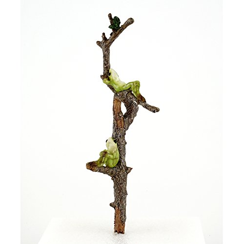 (Top Collection Miniature Fairy Garden Two Frogs Relaxing on Branch & Planter Stake Statue, Small)