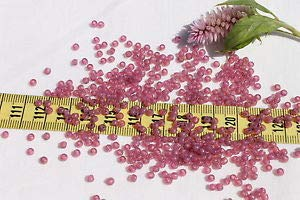 8/0 Vintage French Opal Mauve #4 Glass Seed Beads /1oz Spacer Beads and Roll Crystal String for Bracelets Jewelry Making