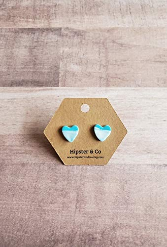 Blue and White Heart Polymer Clay Stud - Clay Polymer Boutique