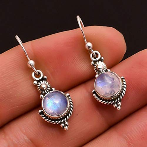 CHoppyWAVE Earrings Elegant Faux Moonstone Hook for Women Girl Lady Jewelry Party Valentines Charm Gift - Antique Silver (Diamond Earrings Moonstone)