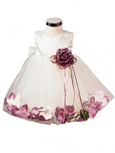 BIMARO Baby Mädchen Babykleid Vivien creme beige Taufkleid Kleid festlich rosa Blüten Tüll Satin Taufe Hochzeit Weihnachten, Größe:62/68