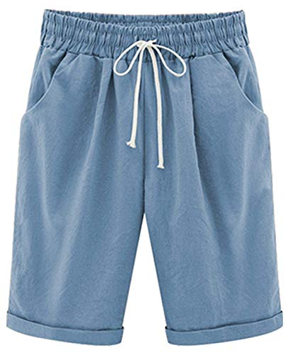 (Yknktstc Womens Casual Elastic Waist Knee Length Curling Bermuda Shorts with Drawstring 3X-Large Light Blue)