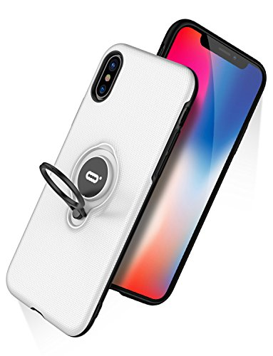 iPhone X Case, iPhone 10 Case With Ring Holder Kickstand, 360°Adjustable Ring Grip Stand Work with Magnetic Car Mount Anti-Fingerprint Slim Cover for Apple iPhone X (2017) 5.8 inch - White