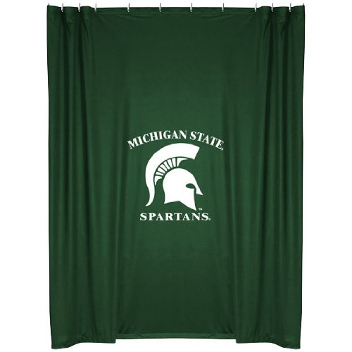 Michigan State Spartans COMBO Shower Curtain, 4 Pc Towel Set & 1 Window Valance/Drape Set (84 inch Drape Length) - Decorate your Bathroom & SAVE ON BUNDLING! by Sports Coverage