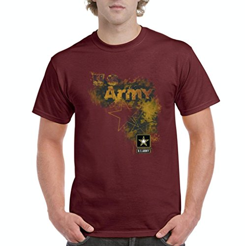 Xekia US Army Star Proud Soldier Veteran Men's T-Shirt Tee Large Maroon -