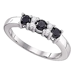 Black Diamond Three Stone Promise Ring Solid 10k White Gold Anniversary Band 3 Solitaire Style 5/8 ctw