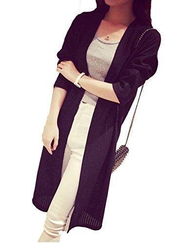 【ps.j】ロングカーディガン ロングジレ 透かし編み レディース サマーニット ブラック ホワイト
