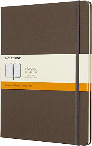 """Moleskine Classic Notebook, Hard Cover, XL (7.5"""" x 9.5"""") Ruled/Lined, Earth Brown, 192 Pages"""
