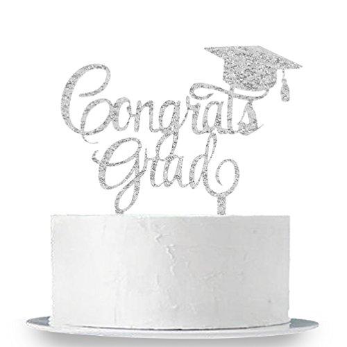 Silver Congrats Grad Cake Topper - Class of 2019 Graduate Party Decorations Supplies - High School Graduation, College Graduate Cake Topper