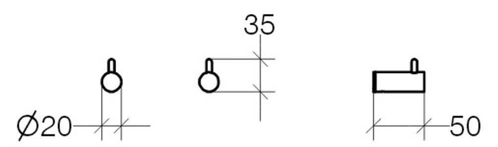 Lineabeta Picola Haken 2 St/ück chrom Messing 5258.29
