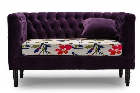 Baxton Studio Freya Purple Velvet and Beige Linen Floral Loveseat