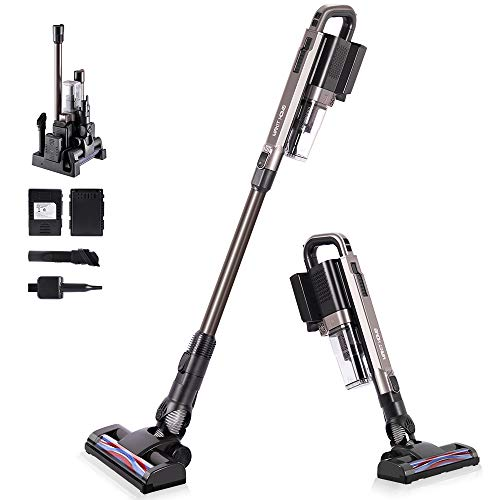 Vacuum Cleaner Cordless, Handheld Powerful Cleaning Stick Vacuum Cleaner Best Rated with 2 Battery Small Lightweight Electric Broom for Home Hardwood Floor Carpet Car Pet Rechargeable Sweeper Vacuum