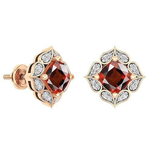 Dazzlingrock Collection 14K 6 MM Each Cushion Garnet & Round White Diamond Ladies Stud Earrings, Rose Gold