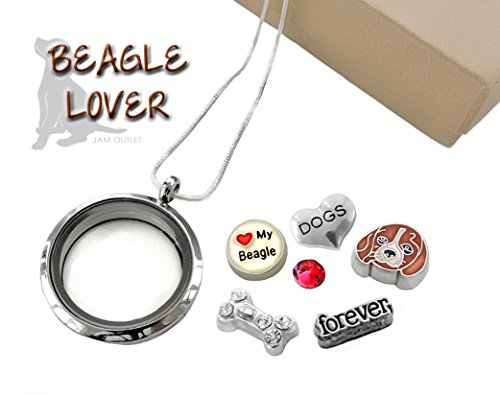 BEAGLE LOVER Glass Locket w/ Floating Dog Charms & Sterling Silver .925 Plated Necklace