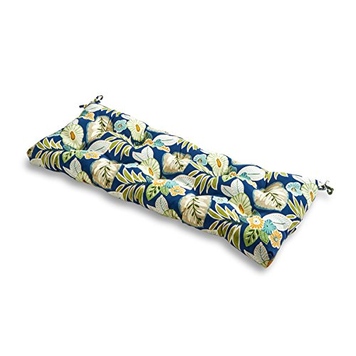 - Greendale Home Fashions Indoor/Outdoor Bench Cushion, Blue Floral, 51-Inch