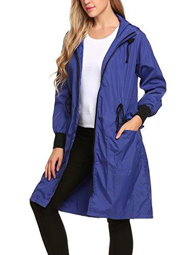 Zeagoo Womens Lightweight Waterproof Raincoat with Hood Long Outdoor Hiking Rain Jacket